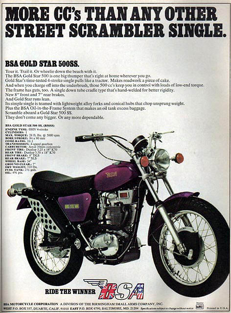 1972 BSA Goldstar 500cc