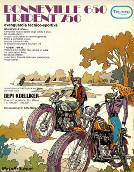 1971 Triumph 650 & 750 Italian ad