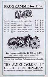 1926 James motorcycle brochure