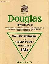 1934 Douglas Z,Z1 motorcycle brochure
