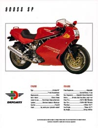 1993 Ducati 900SS SP motorcycle brochure
